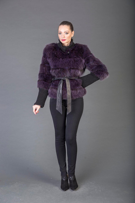 Purple Racoon fur Coat with leather belt