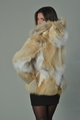Golden Fox Fur Coat Hooded