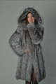 silver fox fur coat knee length hooded