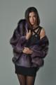 raccoon fur coat hooded ladies purple