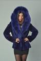 blue beaver fur coat with hood