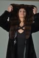 Black Mink Fur Coat  Stone Marten Hood