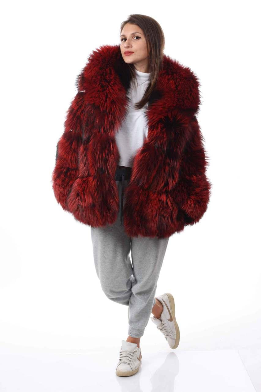 Red fox fur coat celebrity look