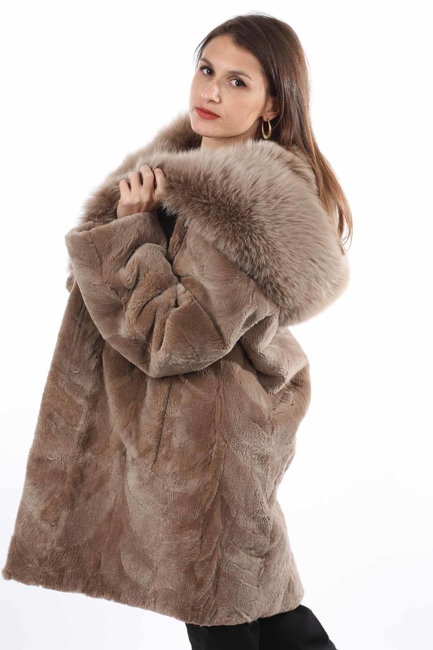 Light brown sheared beaver fur coat with fox hood