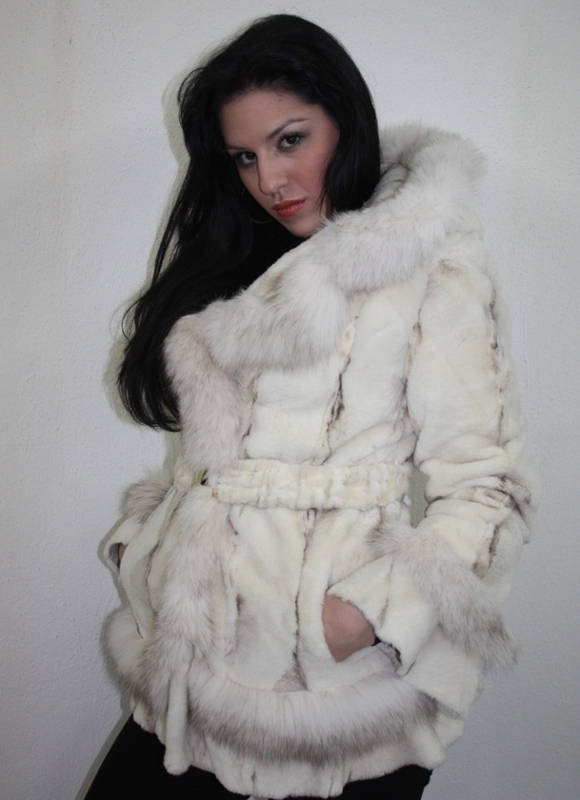 White Mink Fur Coat Hood & Belt Blue Fox Trim - SKANDINAVIK FUR