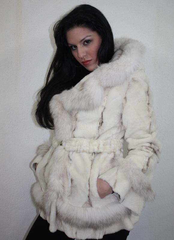 White Mink Fur Coat Hood & Belt Blue Fox Trim - SKANDINAVIK FUR