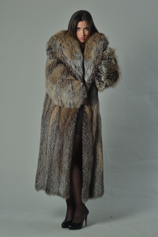 Full Length Crystal Fox Fur Coat Hooded - SKANDINAVIK FUR