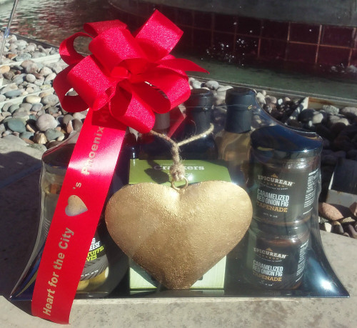 Front view of shrink wrapped and sealed Heart for the City Gourmet Gift Tray