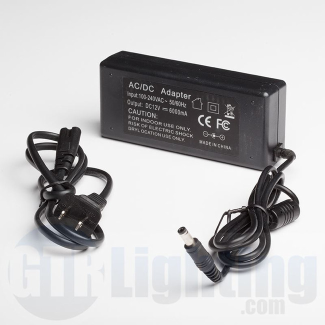 GTR Lighting Universal 110VAC to 12VDC 6 amp 72w Power Supply