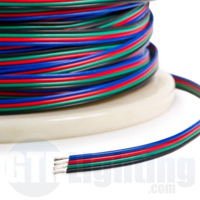 GTR Lighting RGB Wire for Flexible LED Strips, 20 Foot Spool