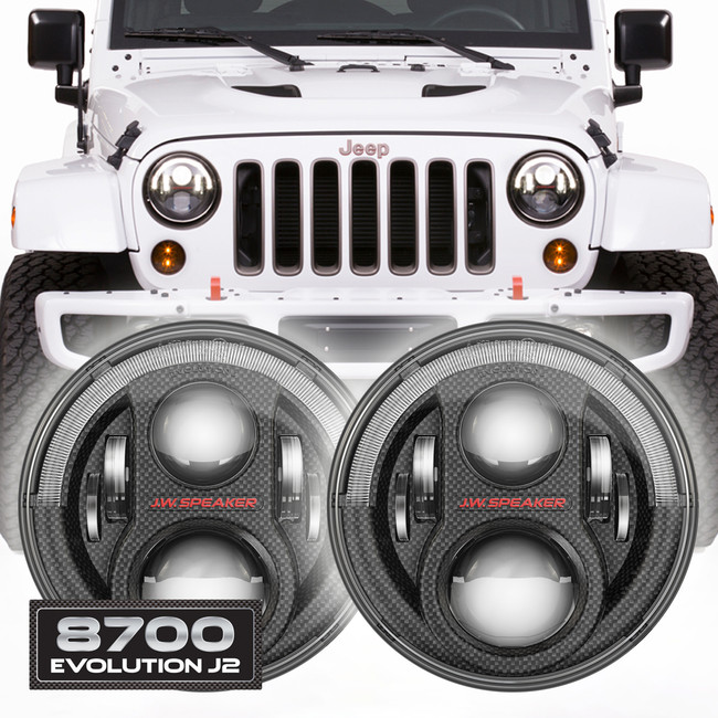 JW Speaker 8700 Evolution J2 Set of 2 LED Jeep Headlight Kit - Carbon Fiber Bezel