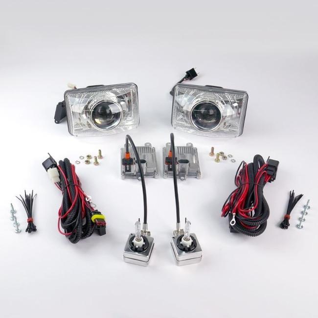 "Starr HID XP4656C Bi-Xenon Chrome Projector Headlights Kit 4""x6"" Rectangular Sealed Beam"