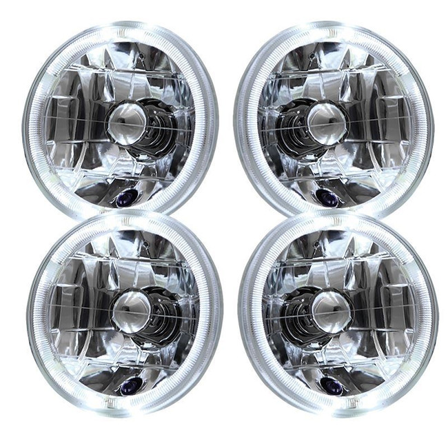 "5.75"" 6"" Round Chrome Halo Reflector Headlights (Set of 4) - Sealed Beam"
