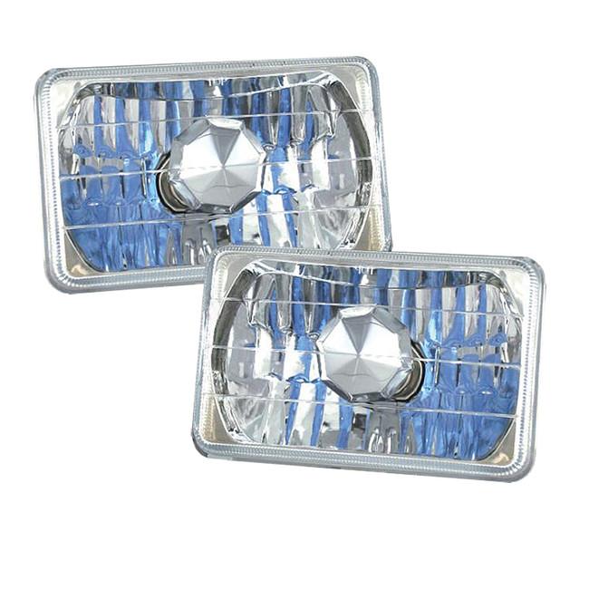 "4x6"" Rectangular Chrome Reflector Headlight Housings - Sealed Beam"