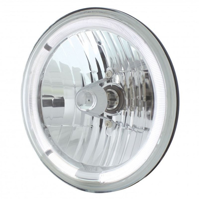"""United Pacific 31285 7"""" Round Crystal Reflector Headlight with White LED Halo"""