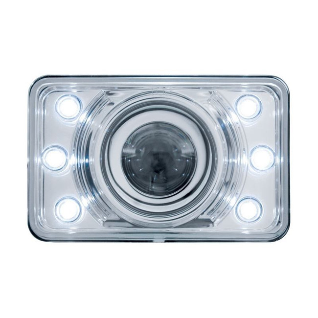 "United Pacific 31375 4x6"" LED Low Beam Projector Headlight with Accent Lights"