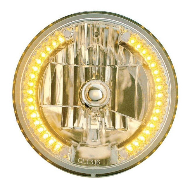 """United Pacific 31378 7"""" Round Crystal Reflector Headlight with 34 Amber LEDs"""