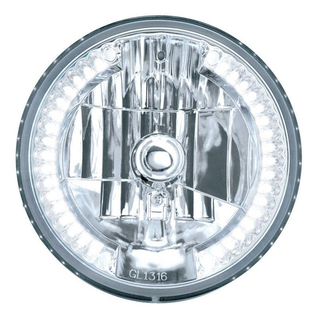 """United Pacific 31379 7"""" Round Crystal Reflector Headlight with 34 White LEDs"""