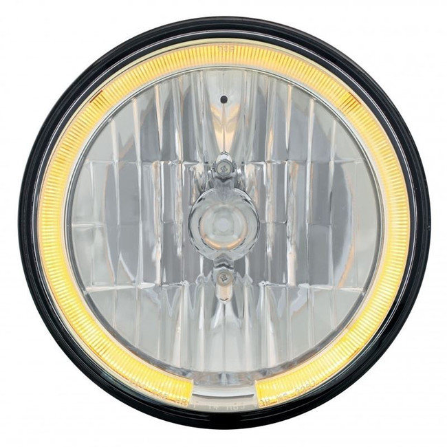 """United Pacific 31284 7"""" Round Crystal Reflector Headlight with Amber LED Halo"""