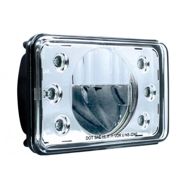 "United Pacific 31357 4x6"" LED High Beam Headlight with Accent Lights"
