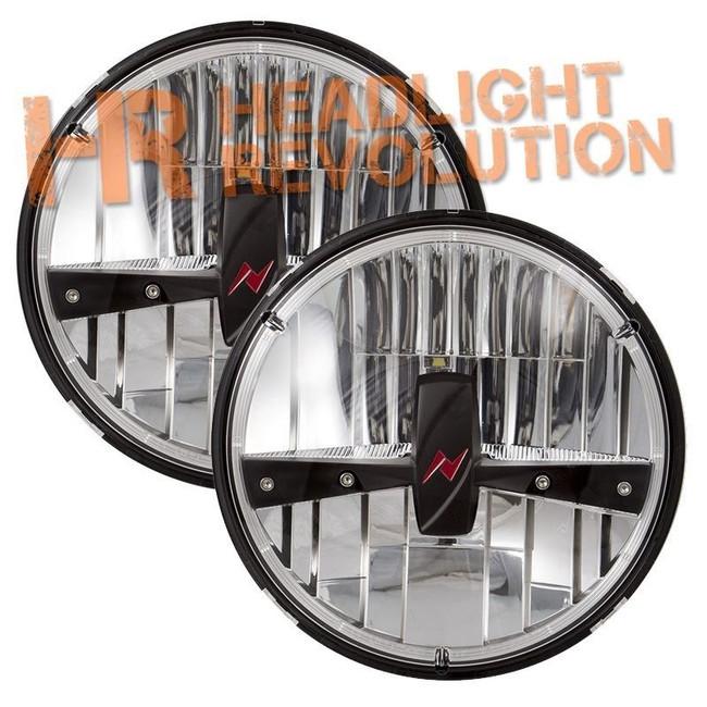 "Anzo USA 7"" Round LED Headlight with Logo - Black"