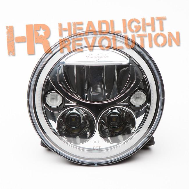 "Vision X SINGLE 7"" ROUND VORTEX LED HEADLIGHT CHROME W/ LOW-HIGH-HALO"