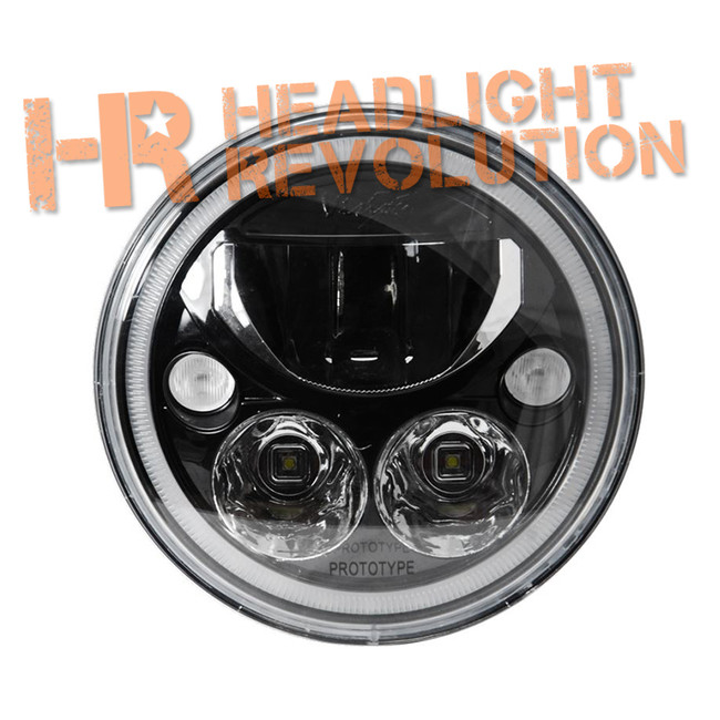 "Vision X SINGLE 7"" ROUND VORTEX BLACK-CHROME FACE LED HEADLIGHT W/ LOW-HIGH-HALO"
