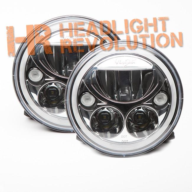 "Vision X PAIR OF 7"" ROUND VORTEX LED HEADLIGHT W/ LOW-HIGH-HALO"