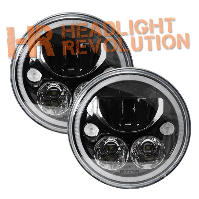 "Vision X PAIR OF 7"" ROUND VORTEX BLACK CHROME FACE LED HEADLIGHT W/ LOW-HIGH-HALO"