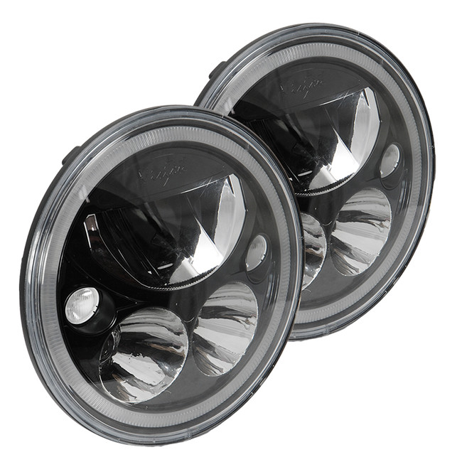 """Vision X KIT OF TWO BLACK CHROME FACE 5.75"""" ROUND VORTEX LED HEADLIGHT W/ LOW-HIGH-HALO"""