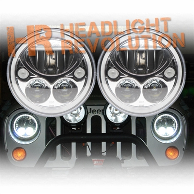 """Vision X JEEP JK HEADLIGHTS - PAIR OF 7"""" ROUND VORTEX LED HEADLIGHT W/ LOW-HIGH-HALO INCLUDING ANTI-FLICKER ADAPTER"""