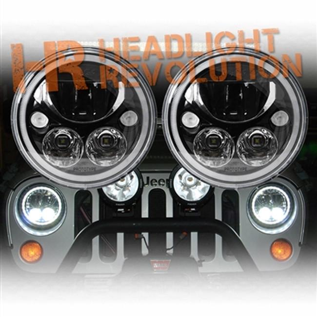 "Vision X JEEP JK HEADLIGHTS - PAIR OF 7"" BLACK CHROME ROUND VORTEX LED HEADLIGHT W/ LOW-HIGH-HALO INCLUDING ANTI-FLICKER ADAPTER"