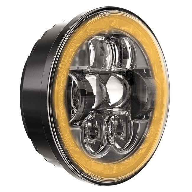 "JW Speaker Model 8630 Evolution with White DRL and Amber Turn Signal RHT DOT 5.75"" Round Headlight"
