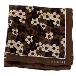 Chocolate Daisy Delight Silk Pocket Square or Handkerchief by Belisi