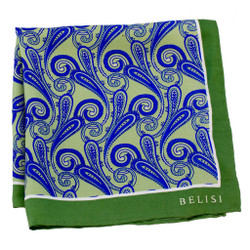 Paisley with a Lime Twist Silk Pocket Square or Handkerchief by Belisi
