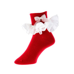 Mrs. Claus Red Bobby Socks with Eyelet Lace