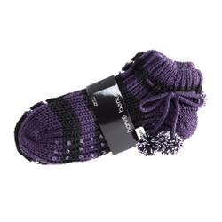 Snowy Cabin Knit Socks with Pom Poms Set of 2