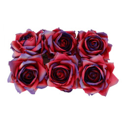 Large Handmade Roses in Red/Purple Comes in a Set of Six