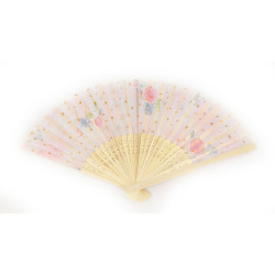 Handpainted Fabric and Bamboo Fan