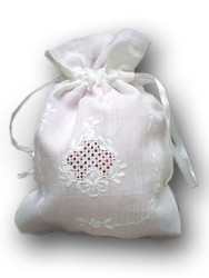 Linen Gift Bag, Solid White, Handmade Embroidery