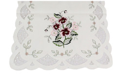 Spring Spice Embroidered Table Runner, Scalloped Edge, 16 x 45 Inches