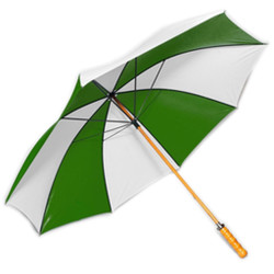 Golf Umbrella in Forest Green & White Colors with Wooden Shaft