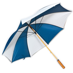 Golf Umbrella in Navy Blue & White Colors with Wooden Shaft