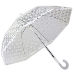 White Designer Polka Dot Ruffle Umbrella with White Trim