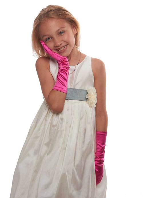 Showstopper Shiny Satin Elbow Length Gloves For Girls