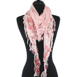 Phoebe Triangle Scarf with Lace and Ruffle Trim