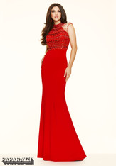 Paparazzi Mori Lee Prom by Madeline Gardner 97074 Red Size 8 on SALE