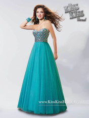 Kiss Kiss Formal by Mary's P3730 Teal Size 8 on SALE