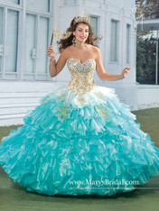 Beloving by Mary's Quinceanera Dress 4461, White/Bubblegum, Size 8 on SALE