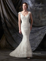 Karelina Sposa Exclusive by Mary's Bridal Wedding Dress C8031 Antique Ivory Size 14 on Sale